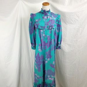T&L Muumuu Factory Hawaiian Print Mumu Dress Aloha
